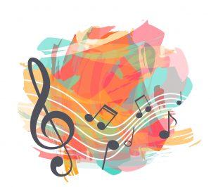 Pintura de notas de música sobre fondo de colores